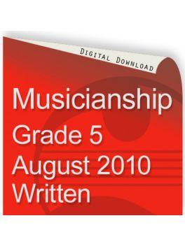 Musicianship August 2010 Grade 5 Written