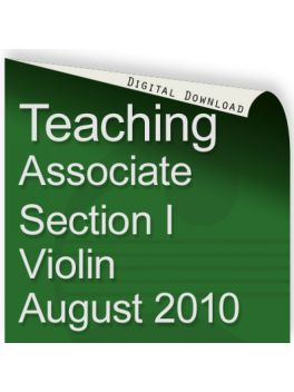 Teacher of Music Associate Section I Violin August 2010