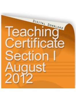 Teacher of Music Certificate Section I 2012