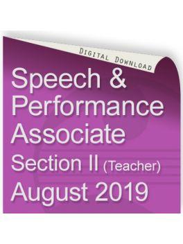 Speech and Performance Associate August 2019 (Teacher)